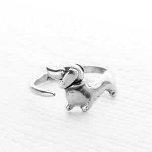 Dachshund silver adjustable ring dog puppy new